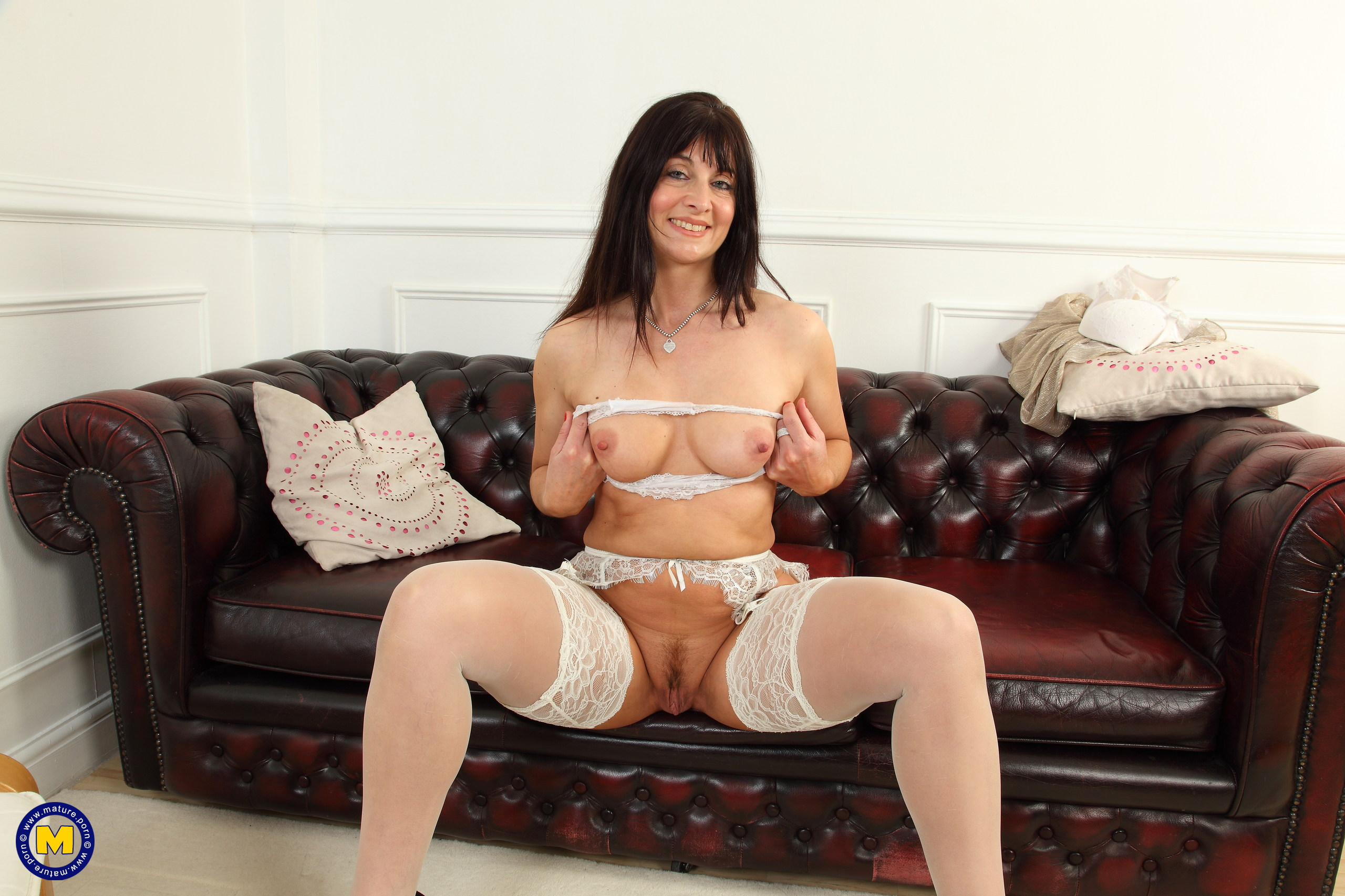 Warm hot British housewife frolicking with her immense faux penis