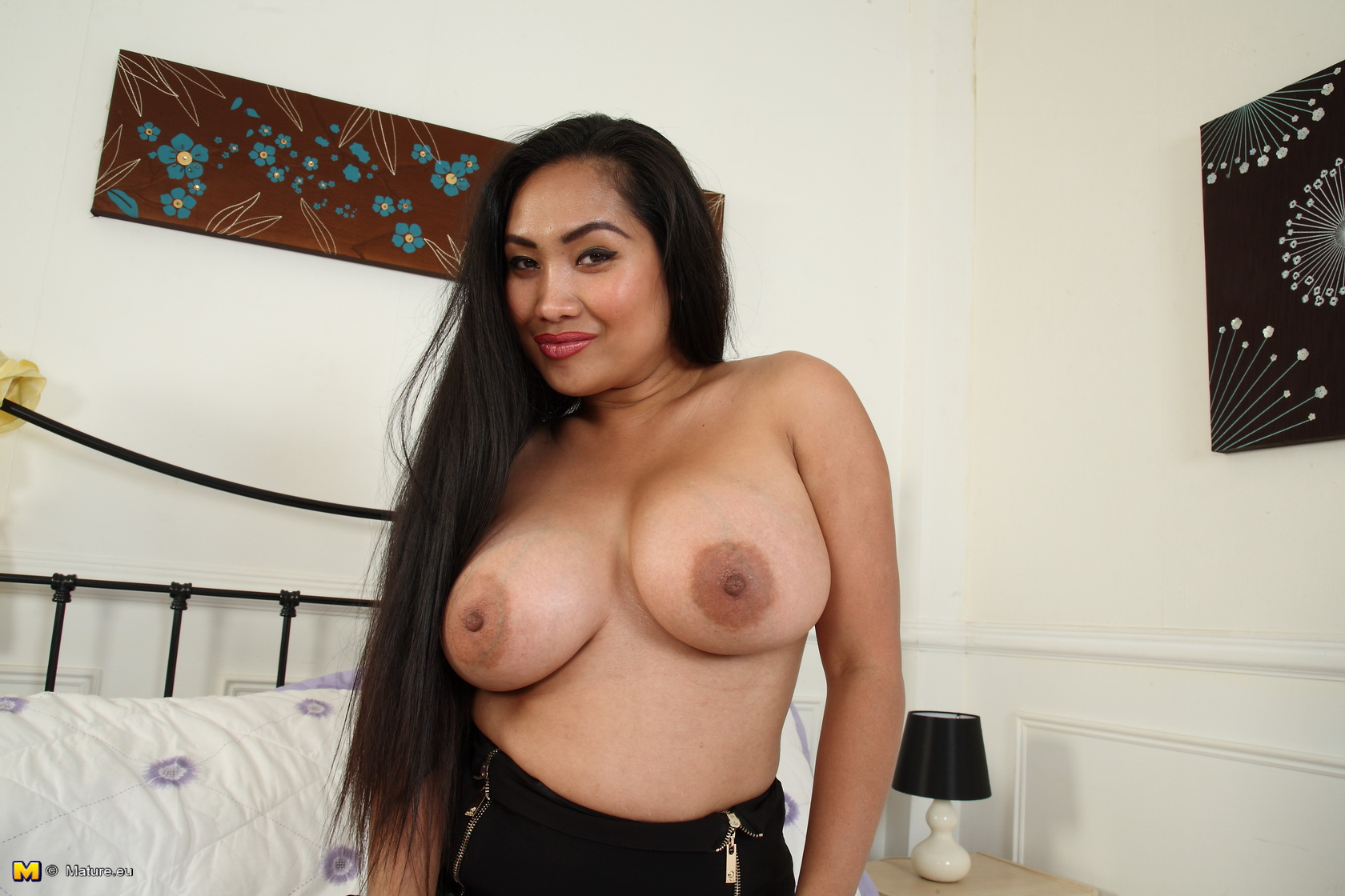 Steamy Asian huge breasted housewife playing with herself